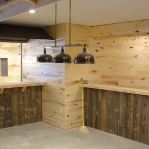 Custom barn wood paneling bar