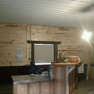 1x6 Aspen prefinished paneling and 1x8 barn wood paneling