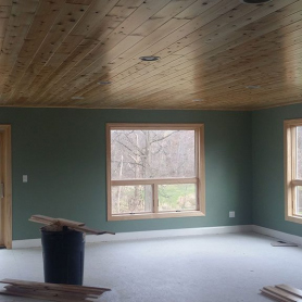 1x6 tongue and groove prefinished cedar ceiling