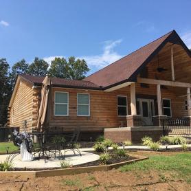 3x8 hewn white pine half log exterior