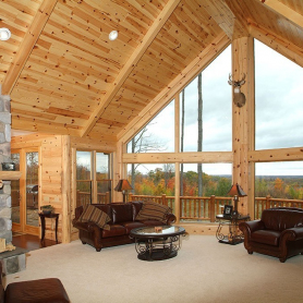 Knotty pine tongue and groove paneling Great Room