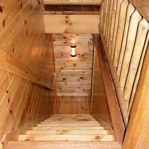 Custom cedar railing and tongue and groove paneling
