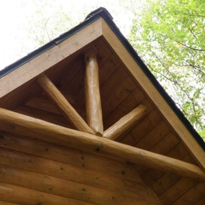 Full log for the double truss and support posts and all pine roof decking