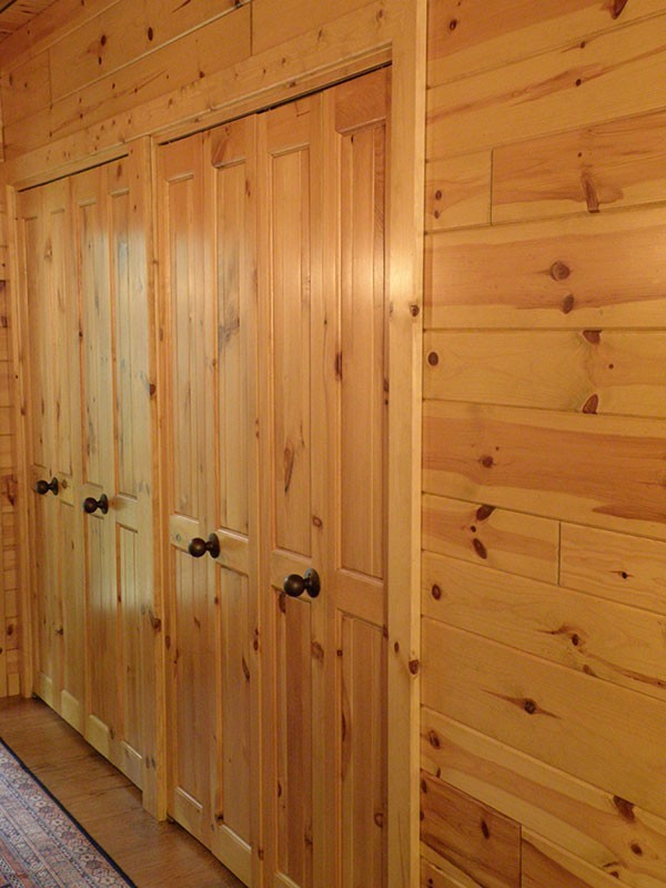 Knotty Pine Tongue And Groove Walls And Ceiling. Bi Fold Closet Doors Made  With Knotty Pine Paneling