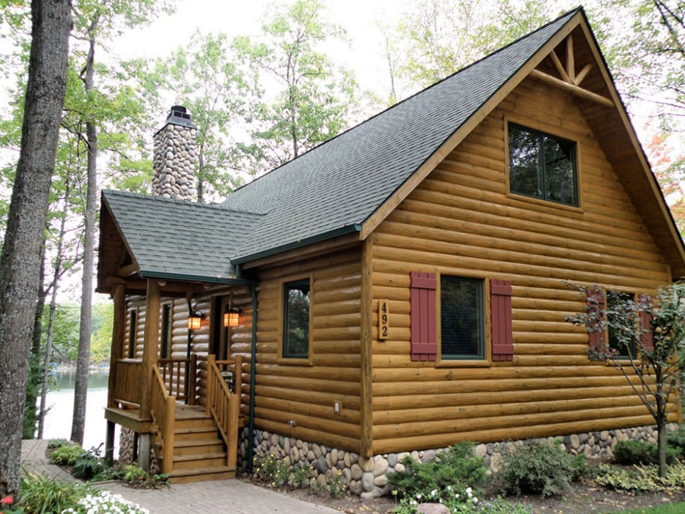 Log siding half log woodhaven log lumber for Half concrete half wood house design