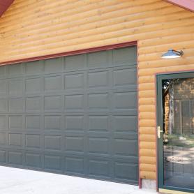 Half log smooth pine log siding garage