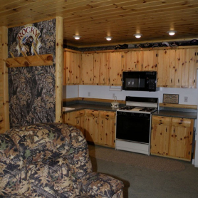 Upper and lower cabinets in knotty pine