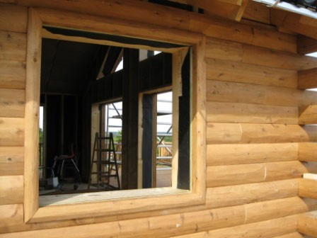 D Trim Hewn Window Trim With Half Log Siding