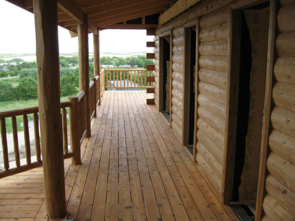 Log home accessories woodhaven for Cedar decks pros and cons