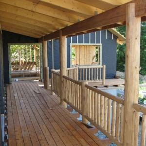 Cedar deck posts and cedar railing