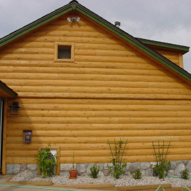 Commercial building with hewn half log siding