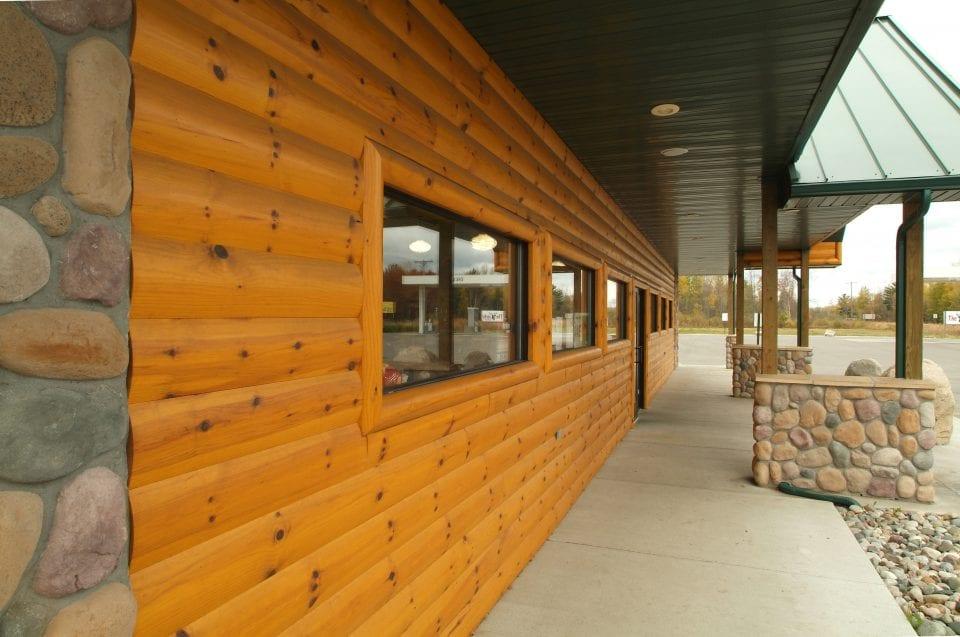 Quarter log siding