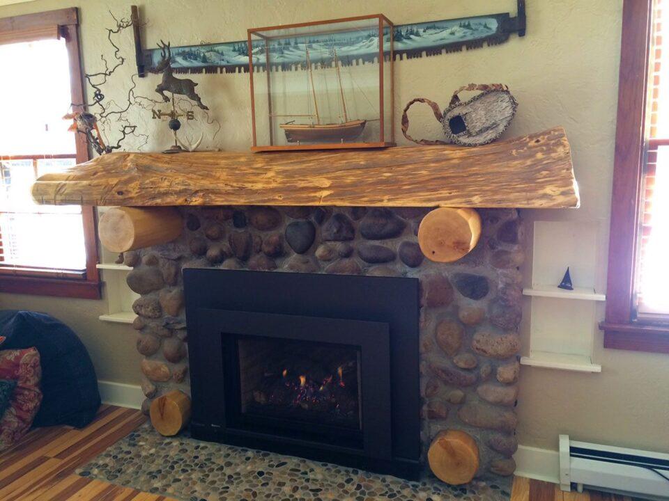 WoodHaven custom log mantle